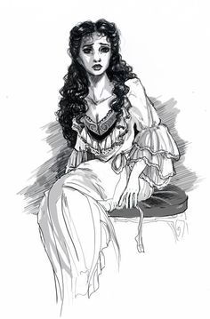 elfinmirror:  Inktober1: Christine Daaè ^^ Scanned version. I cheated terribly and cleaned it up + added the shadows digitally. Which kinda defies the point of inktober, but rules are for weak souls and people who actually know how to art traditionally without messing things up