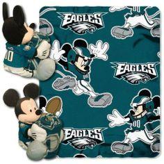 "NFL Philadelphia Eagles Mickey Mouse Hugger with 40"" x 50"" Fleece Blanket NFL,"