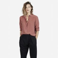 The Silk Rounded Collar - Red Clay - Everlane $78 size small
