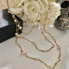 """VINTAGE AMARA on Instagram: """"Gorgeous #KarlLargerfeld #Chanel Inspired Gold Chain and Pearl Necklace😍 SOLD OUT!"""" Designer Jewellery, Gold Chains, Vintage Designs, Pearl Necklace, Helmet, Chanel, Pearls, Inspired, Stuff To Buy"""
