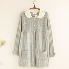Doll dress knit cardigan lace collar mori girl