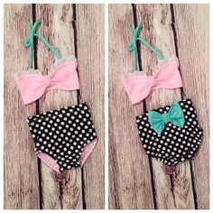 Retro Inspired Pink & Black Dot 3-pc Swimsuit with Headband
