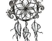 Dreamcatcher Drawing. 8x10 Pen and Ink Print.