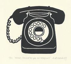 Retro telephone lino print on Etsy, $43.71 AUD