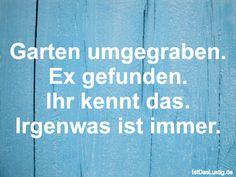 Garten umgegraben. Ex gefunden. Ihr kennt das. Irgenwas ist immer. ... gefunden auf https://www.istdaslustig.de/spruch/955 #lustig #sprüche #fun #spass