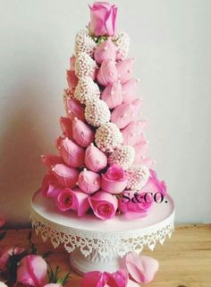 Absolutely gorgeous strawberry tower cake!