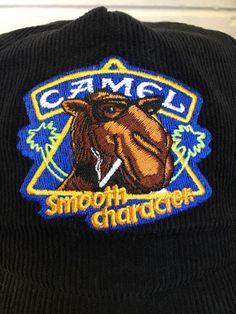 1d758e3a4d0 Camel Corduroy Hat Vtg 90s Cigarettes Smooth Character Joe Trucker Cap   Camel  Trucker Corduroy