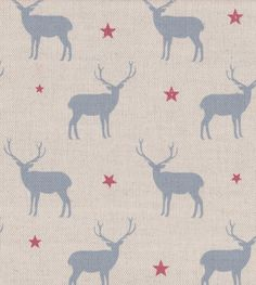 NEW. Stag All Star Linen fabric by Peony & Sage, Oxford Blue & Red.