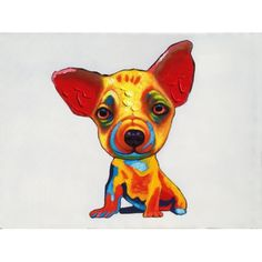 """A playful pop art depiction of man's best friend.  Oil painting on canvas, each painting can vary slightly.  36""""x48"""", with frame measures 44""""x56"""".  Price includes frame."""