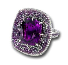 AMETHYST AND DIAMOND RING SET IN 18KT WHITE GOLD   l   Martin Katz Jewels. Like No Other.