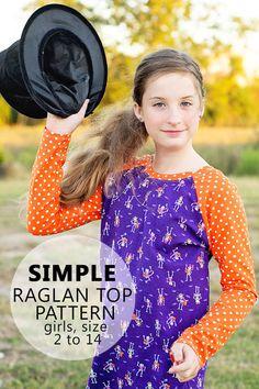 Basic Raglan Shirt Pattern sz 2 to 14