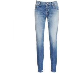 Saint Laurent Dark wash skinny jeans ($670) ❤ liked on Polyvore featuring men's fashion, men's clothing, men's jeans and blue