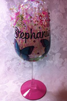 PERSONALIZED BUTTERFLY WINE GLASS – www.thepaintedflower This glass was designed to match the tableware at the birthday party! Happy Birthday Cupcakes, Birthday Parties, Birthday Wine Glasses, Wine Cupcakes, Butterfly, Tableware, Party, Design, Anniversary Parties