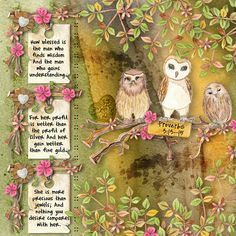 How blessed is the man who finds wisdom And the man who gains understanding. For her profit is better than the profit of silver And her gain better than fine gold. She is more precious than jewels; And nothing you desire compares with her. Proverbs 3:13-15  kit: Owl Kingdom by Dawn Inskip