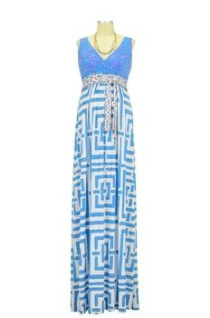 Mina Maxi Maternity Dress in Blue Geometric Print.  Please use coupon code NewProducts to receive 15% off these items by February 16, 2015.