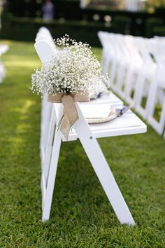 Baby's breath with burlap bouquet as aisle decor