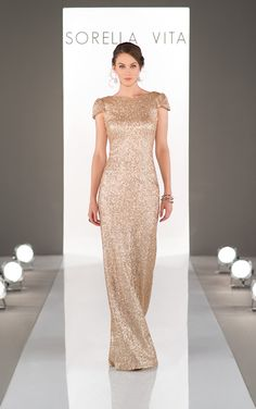 8718 So Stella! Best selling bridesmaid and occasion evening dress! Cap sleeves and cowl back detail brings bridesmaid close to stealing the show! Gold sequin dresses taking bridesmaids to a new level!