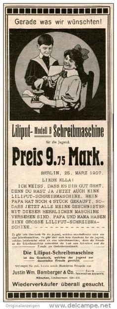 Original-Werbung/Inserat/ Anzeige 1907:  LILIPUT-SCHREIBMASCHINE MODELL B / BAMBERGER & CO. MÜNCHEN - ca. 300 X 90 mm