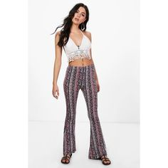 Boohoo Carly Printed Legging Flares ($16) ❤ liked on Polyvore featuring pants, wide leg palazzo pants, white palazzo pants, basic white t shirt, basic t shirt and flat-front pants