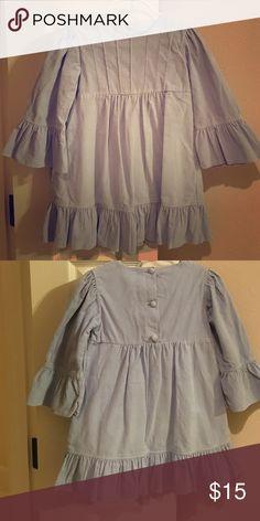 Corduroy dress Baby blue corduroy dress. Ruffle detail at hem and sleeve. Size 4T Shrimp & Grits kids shrimp & grits kids Dresses Casual