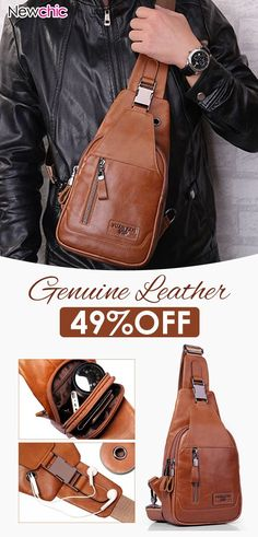 b3c0d4f511 Ekphero Men Genuine Leather Shoulder Bag Vintage Chest Bags Crossbody Bags.   mensfashion  menswear