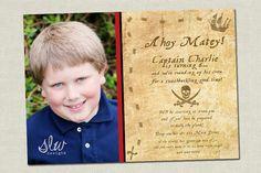 Boy Pirate Birthday Invitation Treasure Map Photo  by slwdesigns, $10.00