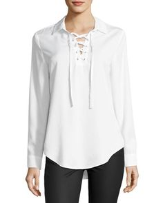 4bd8143775b Chelsea   Theodore Lace-Up Long-Sleeve Blouse