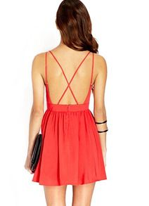 Vestido gasa espalda abierta sin manga-rojo