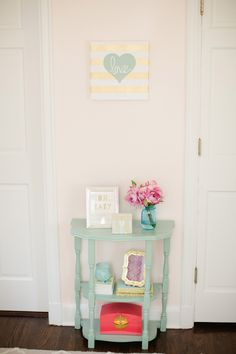 Baby Haley and Her Sweet Peach, Mint, and Gold Nursery | The Little Umbrella