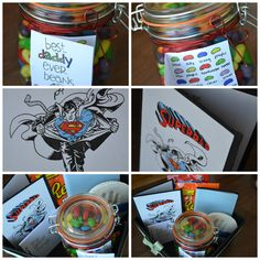"""Father's Day basket I made for my DH. Google """"father's day jelly beans"""" for label ideas and 'superman' for card ideas."""