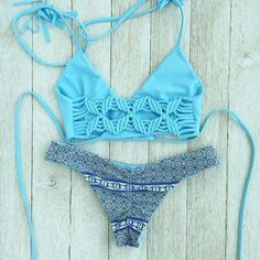Fashion Braided Print Beach Bikini Set Swimsuit Swimwear