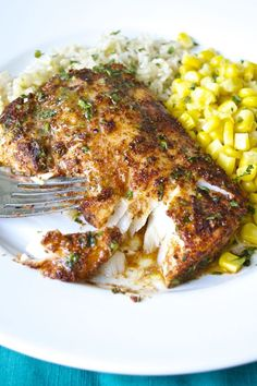 CHILI LIME COD (or Halibut/Salmon/Tilapia/Shark) FILLETS The fillets are rubbed with a flavorful spice mixture before roasting to perfection. Top it off with a delicious lime-butter sauce and serve over brown rice with corn for a fantastic weeknight meal! Seafood Dishes, Fish And Seafood, Seafood Recipes, Cooking Recipes, Healthy Recipes, Healthy Fish Recipes, Seafood Bake, Cooking Corn, Easy Cod Recipes