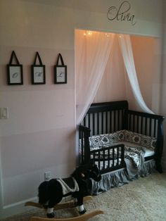 Take off the closet doors for the crib space since you only need a dresser for sweet little baby clothes! Cute use of the space & makes more useable space in the room.