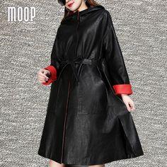 Black red genuine leather coats hooded sheepskin lamb windbreaker Long trench coat sash decor casaco feminino <font><b>ropa</b></font> mujer LT1547