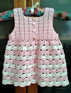 Vestido de crochet para una bebé de un añito. #crochetinspiracion #crochetparabebes #ganchillo Afghan Crochet Patterns, Baby Knitting Patterns, Crochet Girls, Crochet Lace, Baby Dress, Kids Outfits, Baby Boy, Girls Dresses, Bb