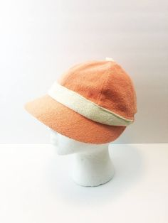 Mr. John Sportifs Terrycloth Tennis Hat Peach and White Athletic Sunhat Visor Brim 1970s Hawk Vintage Clothing by HawkVintageClothing on Etsy