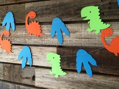 Dinosaur Party Garland Baby Shower Photo Prop by BlueOakCreations