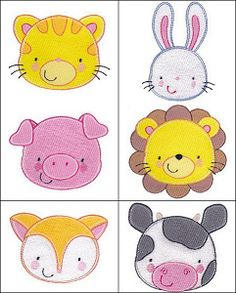 """""""Adorable Animal Faces"""" Filled! With 12 designs! Includes a panda, monkey, puppy and more, in 2 sizes each for 4x4 and between 1.5 and 2.5 inches. Total designs: 24!"""