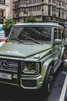 army green Mercedes