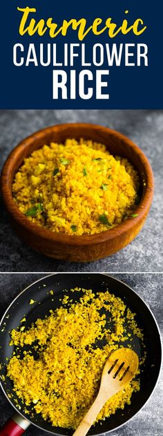 Golden turmeric cauliflower rice is a flavor and antiinflammatory packed side dish Cook it up in less than 5 minutes Low carb paleo vegan via sweetpeasaffron Keto Vegan, Vegan Keto Recipes, Beef Recipes, Healthy Recipes, Vegan Bread, Rice Recipes, Turmeric Cauliflower, Vegan Cauliflower, Cauliflower Recipes