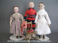 Three Izannahs I photographed at Withington's   The doll on the left has a provenance dating back to the 1850's.  ~ Dixie www.izannahwalkerchronicles.com