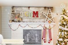 A Very Merry Vintage Christmas - The Golden Sycamore love the welcome and the stocking and the chalkboard fireplace!  It's all so cute!