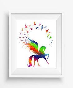 Pegasus flying,birds in rainbow ,watercolor digital art,inspiration,home decor,style,instant download,jpeg,300 dpi