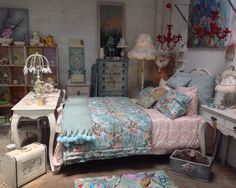 French vintage room with beautiful one off lamps and hand painted cabinet.
