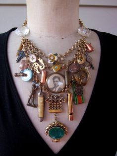 Steampunk Jewelry, Statement  Necklace, Steampunk Necklace, Bib Necklace, Vintage Necklace  - Soldier Boy II. $229.00, via Etsy.