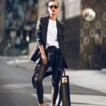 A pair of black leather {of course faux} pants is a contemporary wardrobe essential. They are no more just for the rock stars or bikers any more. This