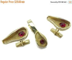 ON SALE Judy Lee Cufflinks Tie Clip Set by LeesVintageJewels
