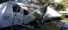 Is Your Caravan Awning Damaged in a Storm? Caravan Awnings, Forest Glen, Bad Storms, Caravans, Outdoor Gear, Tent, Caravan Parks, Outdoors, Houses