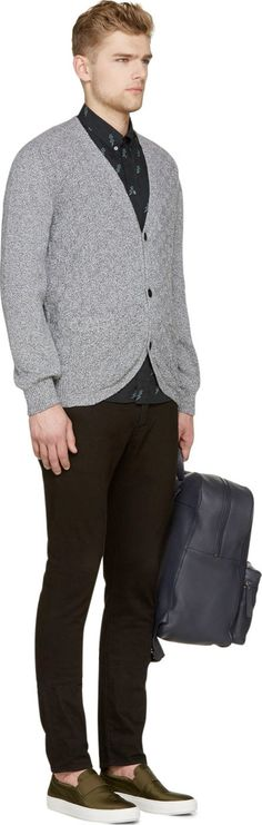 Paul Smith Jeans Gray Marled Knit Cardigan