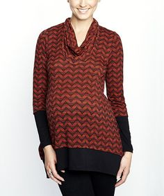 Take a look at this Red & Black Zigzag Maternity & Nursing Cowl Neck Top by Maternal America on #zulily today!